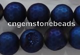 CAG6255 15 inches 14mm faceted round plated druzy agate beads