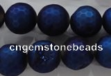 CAG6256 15 inches 16mm faceted round plated druzy agate beads