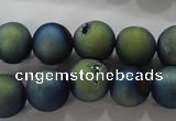CAG6263 15 inches 10mm round plated druzy agate beads wholesale