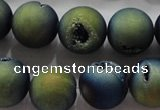 CAG6267 15 inches 18mm round plated druzy agate beads wholesale