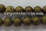 CAG6273 15 inches 10mm round plated druzy agate beads wholesale