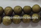 CAG6274 15 inches 12mm round plated druzy agate beads wholesale