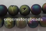 CAG6283 15 inches 10mm round plated druzy agate beads wholesale
