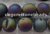 CAG6284 15 inches 12mm round plated druzy agate beads wholesale