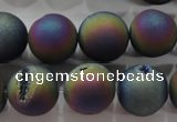 CAG6285 15 inches 14mm round plated druzy agate beads wholesale