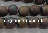 CAG6292 15 inches 8mm round plated druzy agate beads wholesale