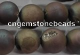 CAG6295 15 inches 14mm round plated druzy agate beads wholesale