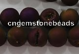 CAG6302 15 inches 8mm round plated druzy agate beads wholesale