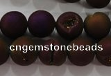 CAG6303 15 inches 10mm round plated druzy agate beads wholesale