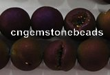 CAG6304 15 inches 12mm round plated druzy agate beads wholesale