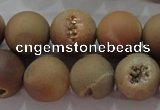 CAG6328 15 inches 20mm round plated druzy agate beads wholesale