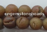 CAG6333 15 inches 10mm faceted round plated druzy agate beads