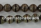 CAG6368 15 inches 12mm faceted round tibetan agate gemstone beads