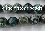 CAG6395 15 inches 8mm faceted round tibetan agate gemstone beads