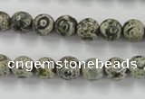 CAG6416 15 inches 12mm faceted round tibetan agate gemstone beads