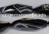 CAG6910 15.5 inches 13*40mm - 15*45mm faceted rice line agate beads