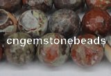 CAG7015 15.5 inches 14mm faceted round ocean agate gemstone beads