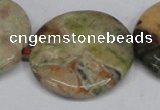 CAG7048 15.5 inches 30mm flat round ocean agate gemstone beads