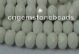 CAG715 15.5 inches 6*10mm faceted rondelle white agate gemstone beads