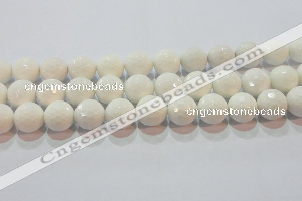 CAG7187 15.5 inches 18mm faceted round white agate gemstone beads