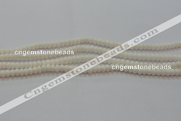 CAG7190 15.5 inches 4*6mm rondelle white agate gemstone beads