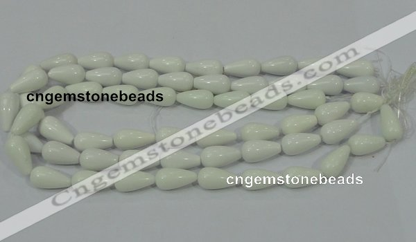 CAG722 15.5 inches 10*20mm teardrop white agate gemstone beads