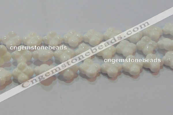 CAG7225 15.5 inches 25*25mm carved flower white agate gemstone beads