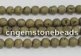 CAG7445 15.5 inches 4mm round plated druzy agate beads wholesale