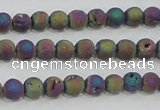CAG7449 15.5 inches 6mm round plated druzy agate beads wholesale