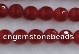 CAG7456 15.5 inches 6mm faceted round matte red agate beads
