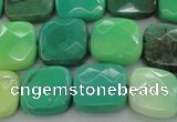 CAG7912 15.5 inches 14*14mm faceted square grass agate beads