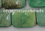 CAG7927 15.5 inches 25*35mm faceted rectangle grass agate beads