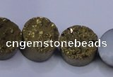 CAG7931 7.5 inches 12mm flat round plated white druzy agate beads