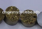 CAG7932 7.5 inches 14mm flat round plated white druzy agate beads