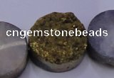 CAG7938 7.5 inches 26mm flat round plated white druzy agate beads