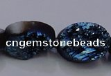 CAG7958 7.5 inches 12*16mm oval plated white druzy agate beads