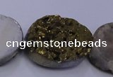 CAG7965 7.5 inches 15*20mm oval plated white druzy agate beads