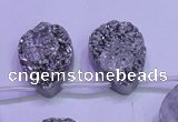 CAG8132 Top drilled 18*25mm teardrop silver plated druzy agate beads