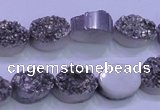 CAG8162 7.5 inches 12*16mm oval silver plated druzy agate beads