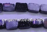 CAG8217 Top drilled 10*14mm rectangle black plated druzy agate beads