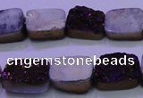 CAG8225 Top drilled 12*16mm rectangle purple plated druzy agate beads