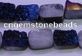 CAG8226 Top drilled 12*16mm rectangle blue plated druzy agate beads