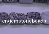 CAG8232 Top drilled 13*18mm rectangle silver plated druzy agate beads
