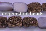 CAG8233 Top drilled 13*18mm rectangle glod plated druzy agate beads
