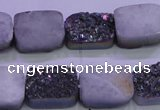 CAG8234 Top drilled 13*18mm rectangle rainbow plated druzy agate beads