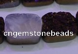 CAG8255 Top drilled 18*25mm rectangle purple plated druzy agate beads