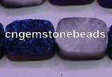 CAG8256 Top drilled 18*25mm rectangle blue plated druzy agate beads