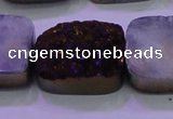 CAG8265 Top drilled 20*30mm rectangle purple plated druzy agate beads