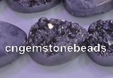 CAG8322 7.5 inches 20*30mm teardrop silver plated druzy agate beads