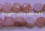 CAG8341 7.5 inches 12mm coin champagne plated druzy agate beads